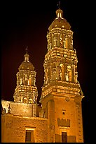 Churrigueresque towers of the Cathedral by night. Zacatecas, Mexico (color)