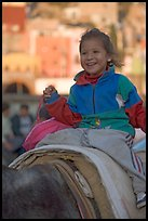 Girl riding a donkey. Guanajuato, Mexico ( color)