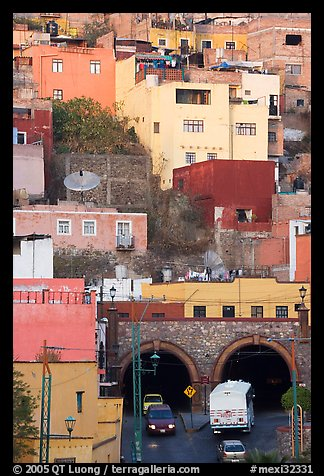 Houses on a hillside built above a tunnel. Guanajuato, Mexico