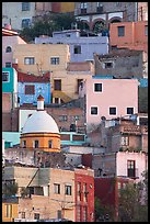 Houses painted with bright colors on a steep hillside. Guanajuato, Mexico ( color)