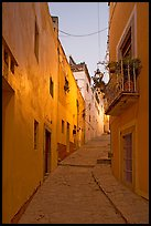 Steep callejone at dusk. Guanajuato, Mexico ( color)