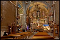Church nave with decorated altar. Guanajuato, Mexico