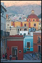 Templo de San Roque, streets, and hillside, early morning. Guanajuato, Mexico ( color)