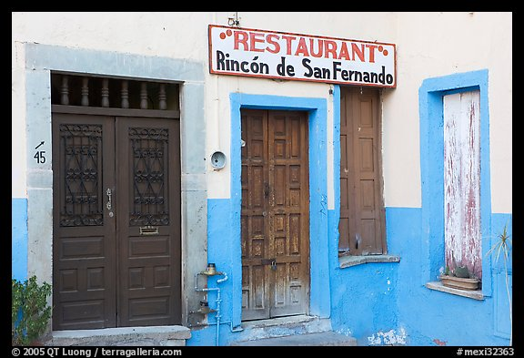 Closed doors of restaurant  Plazuela San Fernando. Guanajuato, Mexico (color)