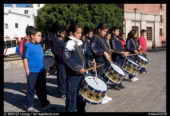 Children practising in a marching band. Guanajuato, Mexico