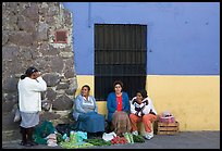 Women selling vegetables on the street. Guanajuato, Mexico ( color)