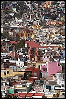 View of the city center with churches and roofs, mid-day. Guanajuato, Mexico ( color)