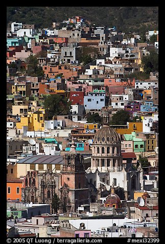 City center from above  with dome of Templo de la Compania de Jesus. Guanajuato, Mexico