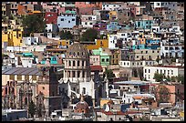 City center from above  with dome of Templo de la Compania de Jesus. Guanajuato, Mexico ( color)