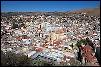 Historic city center with Church of San Diego, Basilic and  University. Guanajuato, Mexico ( color)