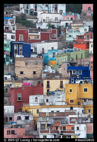 Vividly colored houses on steep hill. Guanajuato, Mexico (color)