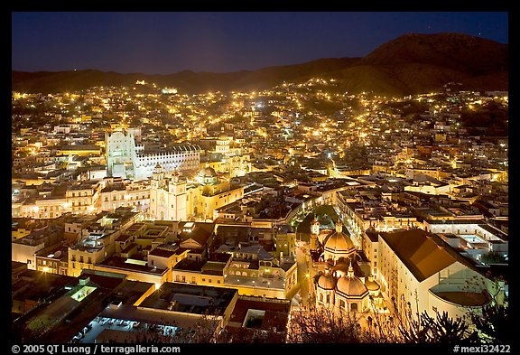 Historic town at night with illuminated monuments. Guanajuato, Mexico