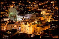 Basilic and University seen from above at night. Guanajuato, Mexico