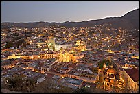 Panoramic view of the historic town at dawn. Guanajuato, Mexico