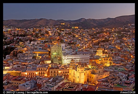 Panoramic view of the historic town with illuminated monuments. Guanajuato, Mexico (color)