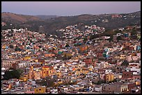 Panoramic view of the historic town and surrounding hills at dawn. Guanajuato, Mexico