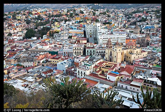 Panoramic view of the town center at dawn. Guanajuato, Mexico (color)