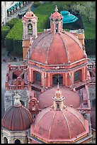 Roofs and domes of Church of San Diego seen from above. Guanajuato, Mexico