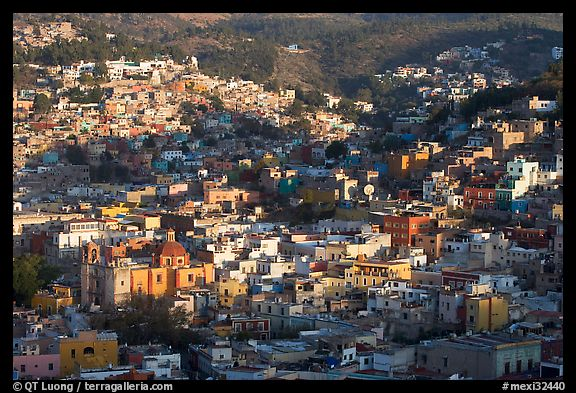 Church San Roque, and hills, early morning. Guanajuato, Mexico (color)