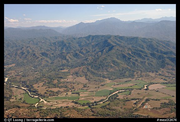 Aerial view of plain, foothills and Sierra de Madre. Mexico (color)