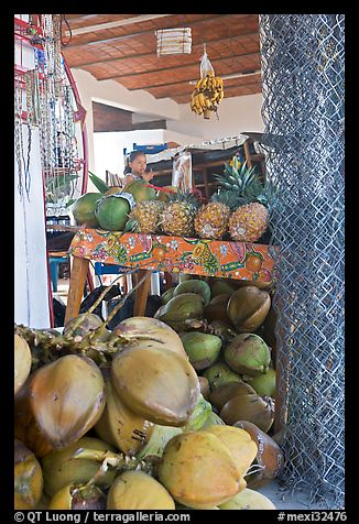 Tropical Fruit stand with girl in background. Mexico (color)