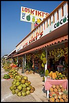 Row of tropical fruit stands. Mexico ( color)