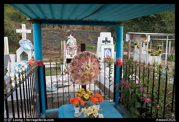Covered tomb in a cemetery. Mexico (color)