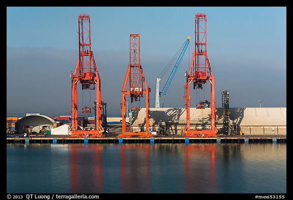 Cranes in port, Ensenada. Baja California, Mexico