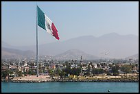 Giean Mexican national flag flying above Malecon, Ensenada. Baja California, Mexico ( color)