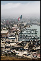 Harbor and giant Mexican flag from above, Ensenada. Baja California, Mexico (color)