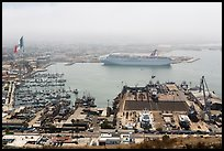 Harbor and cruise ship from above, Ensenada. Baja California, Mexico ( color)