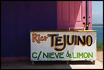 Sign at beachside food stand. Baja California, Mexico (color)