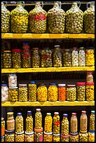 Jars of preserved pickles. Baja California, Mexico ( color)
