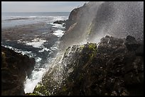 Cliffs and spray from blowhole, La Bufadora. Baja California, Mexico ( color)