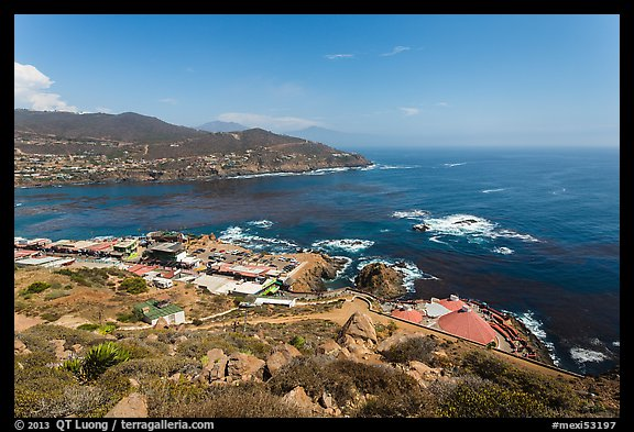 Bay, market, and blowhole visitor center, La Bufadora. Baja California, Mexico (color)