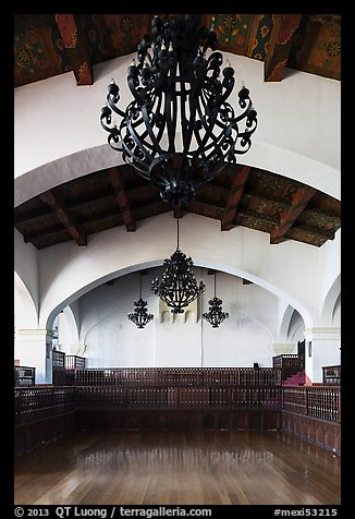 Ballroom and intricate ironwork in heavy chandeliers, Riviera Del Pacifico, Ensenada. Baja California, Mexico (color)