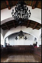 Ballroom and intricate ironwork in heavy chandeliers, Riviera Del Pacifico, Ensenada. Baja California, Mexico ( color)