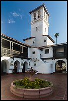 Courtyard, fountain and tower, Riviera Del Pacifico, Ensenada. Baja California, Mexico (color)