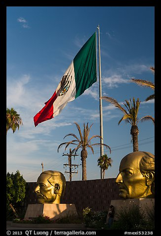 Plaza Civica with giant busts of Mexican heroes, Ensenada. Baja California, Mexico (color)