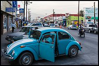 Street and Wolswagen bug, Ensenada. Baja California, Mexico ( color)