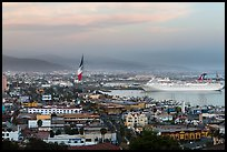 Ensenada harbor, and cruise ship at sunset. Baja California, Mexico ( color)