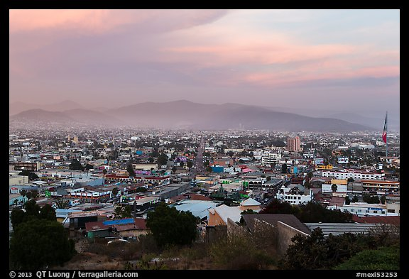Ensenada from above at sunset. Baja California, Mexico (color)
