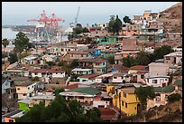 Houses on hillside above harbor, Ensenada. Baja California, Mexico (color)