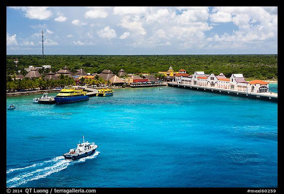 Cruise ship harbor, Puerta Maya. Cozumel Island, Mexico (color)