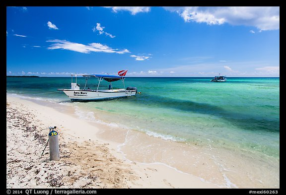 Dive boats and beach. Cozumel Island, Mexico (color)
