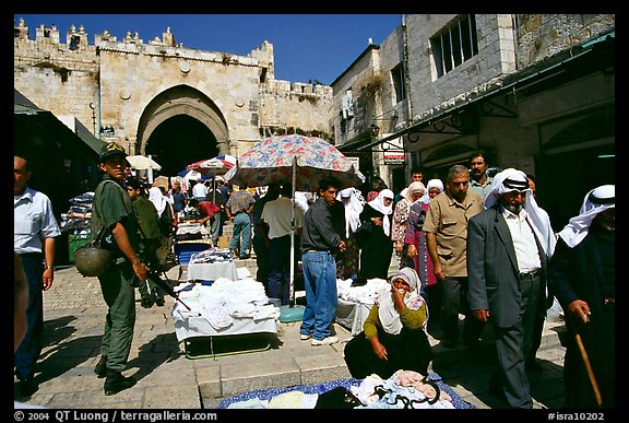 Street market inside the old town next to the Damascus Gate. Jerusalem, Israel (color)