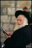 Elderly orthodox jew, Western (Wailling) Wall. Jerusalem, Israel (color)