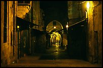 Old street and arches by night. Jerusalem, Israel
