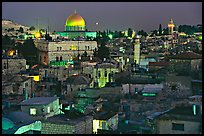Old town roofs and Dome of the Rock by night. Jerusalem, Israel ( color)