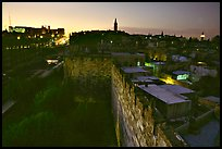 Old town remparts at dusk. Jerusalem, Israel (color)